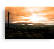 view of the Kerry coast with telegraph masts Canvas Print