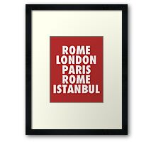 Liverpool Champions League Destinations. Framed Print