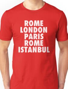 Liverpool Champions League Destinations. Unisex T-Shirt