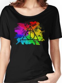 Rainbow Hallows 2 (black background) Women's Relaxed Fit T-Shirt