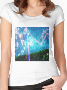 Abstract Colourful Landscape and Night Sky. Women's Fitted Scoop T-Shirt