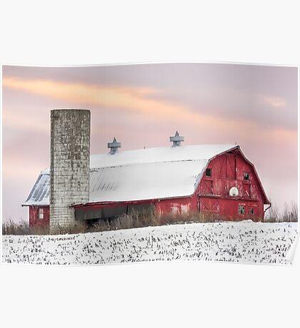Winter Barn at Sundown Poster
