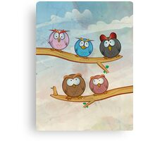 funny owl group cartoon on tree Canvas Print