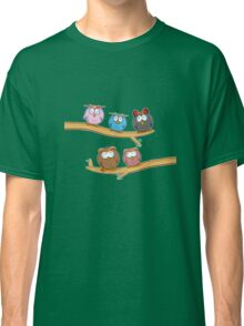 funny owl group cartoon on tree Classic T-Shirt