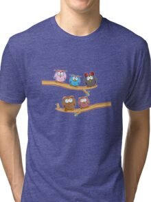 funny owl group cartoon on tree Tri-blend T-Shirt
