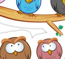 funny owl group cartoon on tree Sticker
