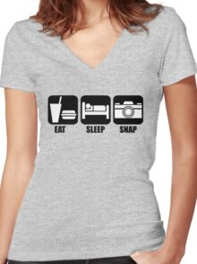 Eat Sleep Snap Women's Fitted V-Neck T-Shirt