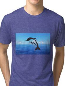 Tribal Sea Life - Dolphin Tri-blend T-Shirt