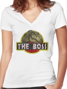 T-Rex the Boss Women's Fitted V-Neck T-Shirt