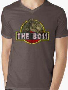 T-Rex the Boss Mens V-Neck T-Shirt