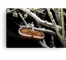 Pear-waiting for harvest: winter scene Canvas Print