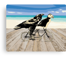 Puffin and Raven Canvas Print