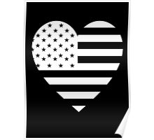 American Flag, REVERSE Heart on Black, Stars & Stripes, Pure & Simple, America, USA Poster