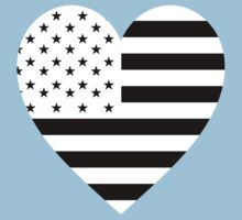 American Flag, REVERSE Heart on Black, Stars & Stripes, Pure & Simple, America, USA Kids Clothes