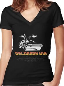Delorean Win Women's Fitted V-Neck T-Shirt