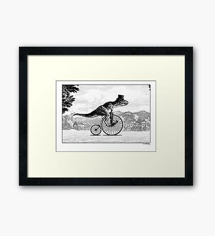 T-Rex on a Penny Farthing Framed Print