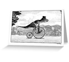 T-Rex on a Penny Farthing Greeting Card