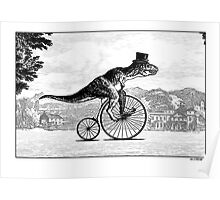T-Rex on a Penny Farthing Poster