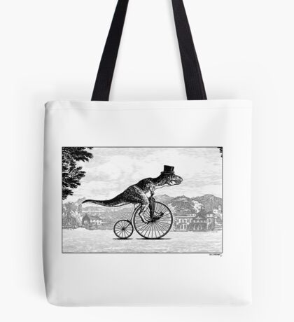 T-Rex on a Penny Farthing Tote Bag