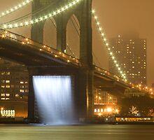 Brooklyn bridge waterfalls at night by 64iso