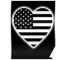 American Flag, BLACK Heart, Stars & Stripes, Pure & Simple, America, USA, on BLACK,  Poster