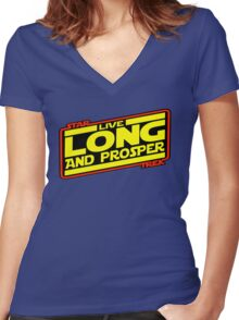 Live Long & Prosper Strikes Back Women's Fitted V-Neck T-Shirt