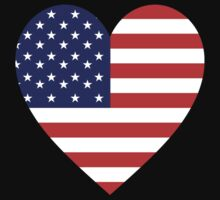 American Flag, Heart, on BLACK, Stars & Stripes, America, Americana,  Pure & Simple, America, USA by TOM HILL - Designer