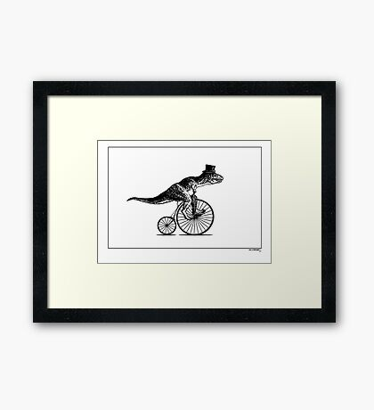 T-Rex on a Penny Farthing - Plain Back Framed Print