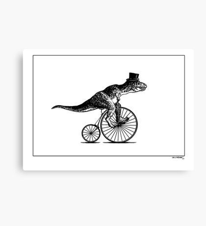 T-Rex on a Penny Farthing - Plain Back Canvas Print