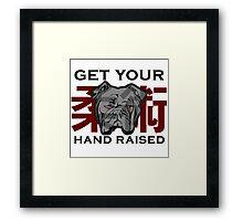 """Get Your Hand Raised"" - Jiu Jitsu Bulldog (on white) Framed Print"