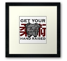 """Get Your Hand Raised"" - Jiu Jitsu Bulldog (on white) Framed Print"