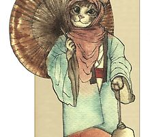 Umbrella Halfing Cat with Her Lantern by felissimha