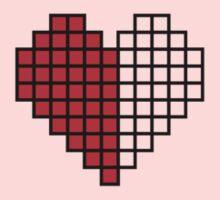 Half a 8bit Heart One Piece - Short Sleeve