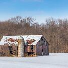 Snowy Old Barn and Silo by Kenneth Keifer