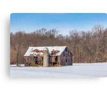 Snowy Old Barn and Silo Canvas Print