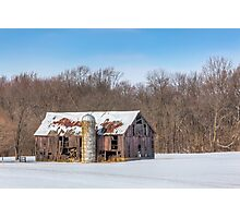 Snowy Old Barn and Silo Photographic Print