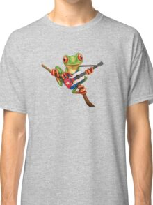 Tree Frog Playing Cuban Flag Guitar Classic T-Shirt