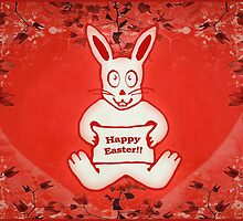 Cute Bunny Happy Easter Drawing Illustration Design by DFLC Prints
