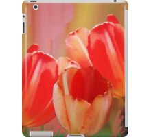Three colourful tulips on an abstract background iPad Case/Skin