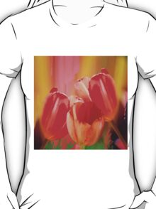 Three colourful tulips on an abstract background T-Shirt