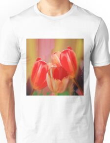 Three colourful tulips on an abstract background Unisex T-Shirt