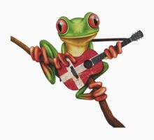 Tree Frog Playing Danish Flag Guitar One Piece - Short Sleeve