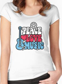 Patriotic Peace Love Music Women's Fitted Scoop T-Shirt
