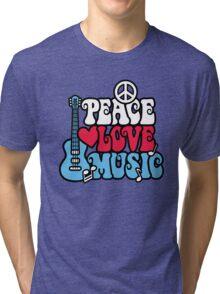 Patriotic Peace Love Music Tri-blend T-Shirt