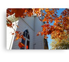 Country Church in Autumn Canvas Print