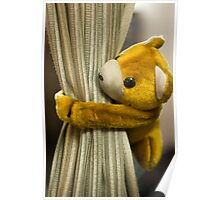 A curtain with a cute stuffed toy Poster