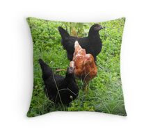 Three Bright Young Pullets Throw Pillow