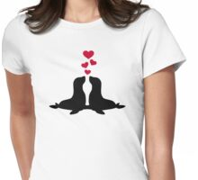 Seal love red hearts Womens Fitted T-Shirt