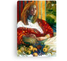sitting lady with fruit Canvas Print