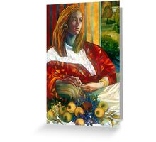 sitting lady with fruit Greeting Card